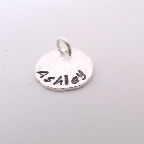 Small HAMMERED  stamped charm