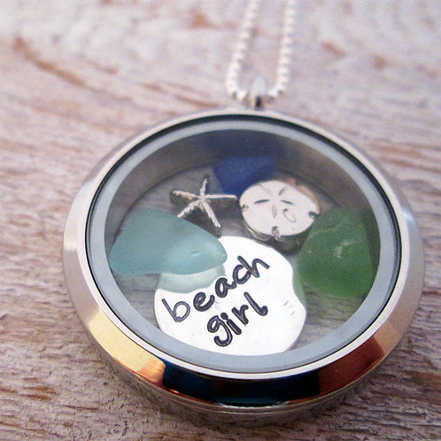Beach Girl Locket - Beach Charm Locket - Floating