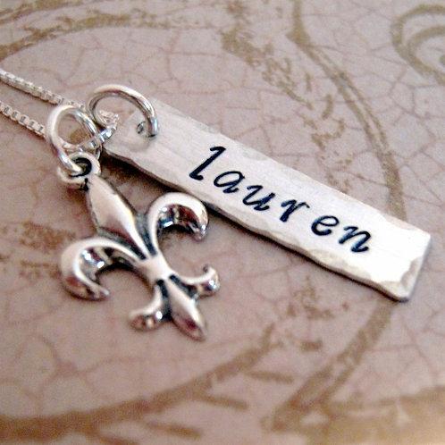 Fleur De Lis Necklace - Personalized Name Necklace