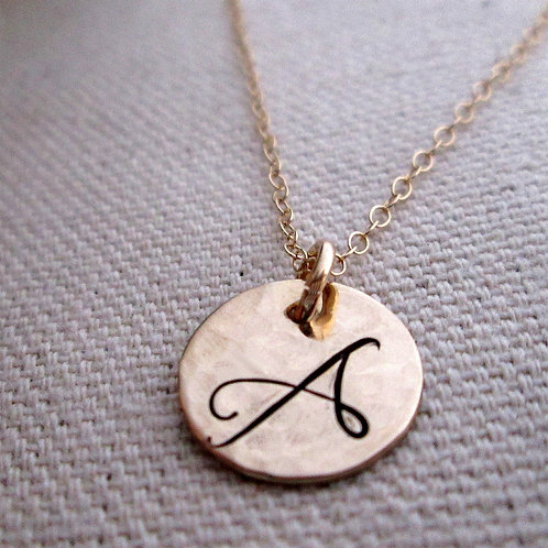 Gold Initial Necklace - 14 kt Solid Gold Necklace