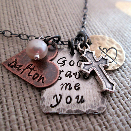 God gave me you - Rustic Family Necklace