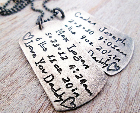 Father's Necklace - Dog Tag Necklace II -