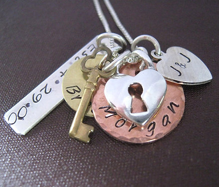The Keys to my Heart charm necklace - mixed metal