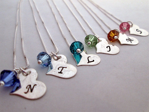 Set of 6- Bridesmaid Initial Necklace - Heart Neck