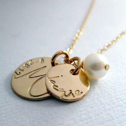 Gold Family Necklace - 14 kt Solid Gold Necklace