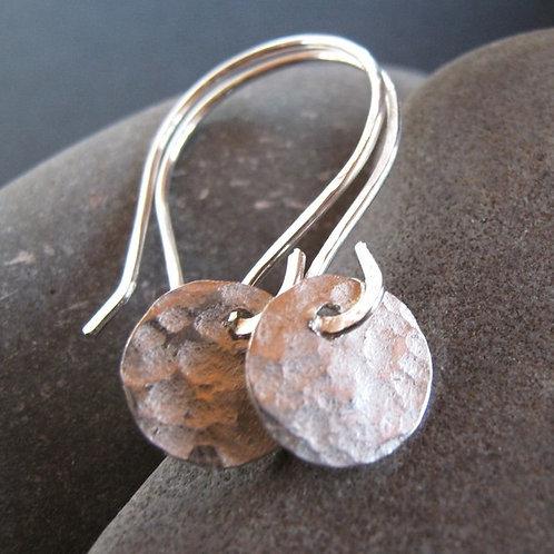 Shimmer sterling silver disc earrings