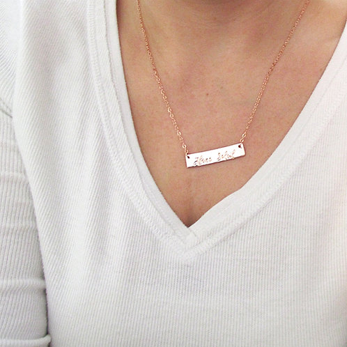 Rose Gold Bar Necklace - Name Necklace