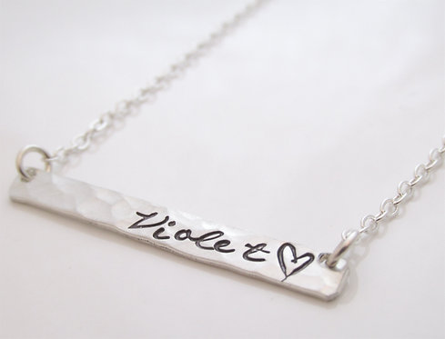 Long Silver Bar Necklace - Personalized Necklace -