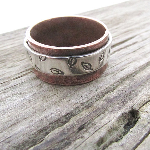 Mixed Metal Wide Band - Leaf Ring