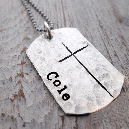 Dog Tag Necklace- Cross Jewelry