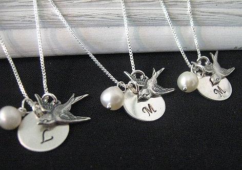 Bird Bridesmaid Necklaces - Set of 3