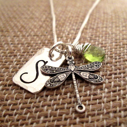 Dragonfly Initial Necklace with gemstone