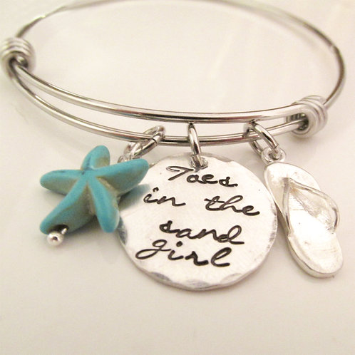 Toes in the Sand - hand stamped jewelry- Starfish