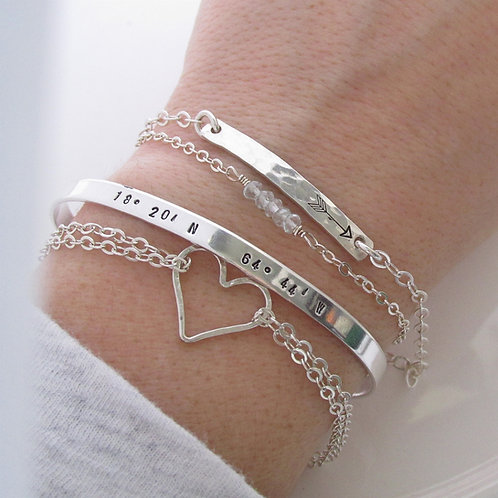 Layering Bracelet Set of 4 - Dainty - sterling
