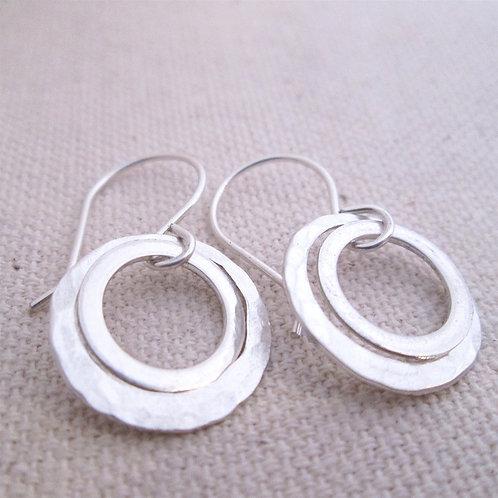 Double Hoop Earrings - Sterling silver earrings