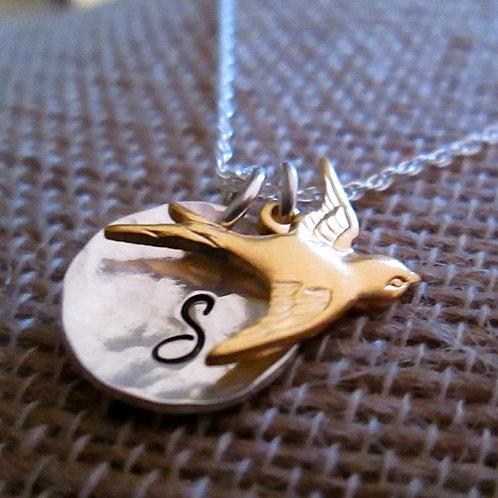 Golden Flight -  Initial Necklace - Bird Jewelry