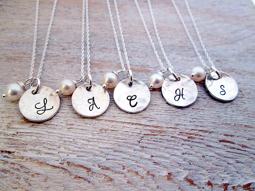 Hammered Bridesmaid Necklaces - Set of 5