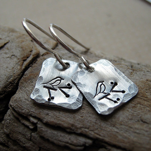 Little Birdie sterling silver earrings