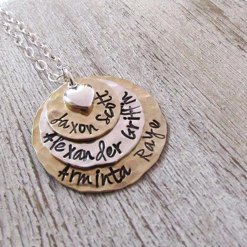 Triple Love Mom Necklace