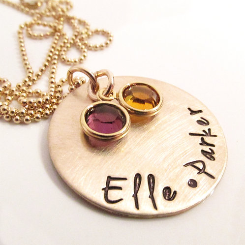 Personalized Necklace with Names and Birthstones