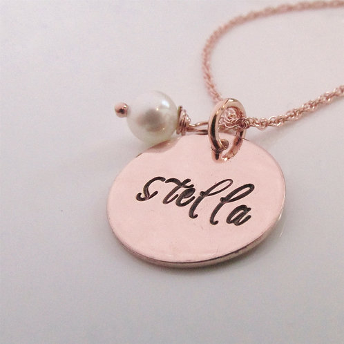 Rose Gold Name Necklace - Hand Stamped Necklace