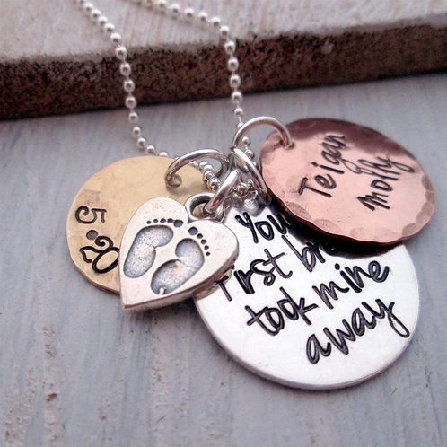 Mixed Metal Your First Breath Necklace