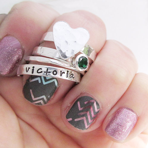 Stacking Rings Set of 4 - Birthstone Mom Rings