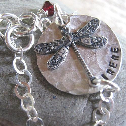 Dragonfly hand stamped bracelet
