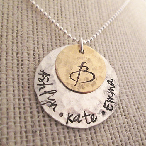 Initial Family Necklace - Hand Stamped Jewelry