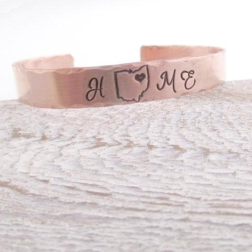 Copper Cuff Bracelet - Home State Cuff Bracelet
