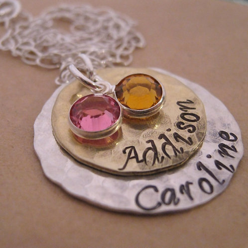 Layered Love Birthstone Necklace - mixed metal