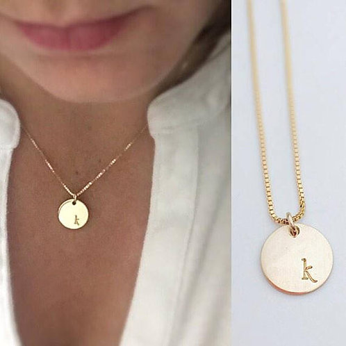 Gold Initial Necklace - Minimalist Disc