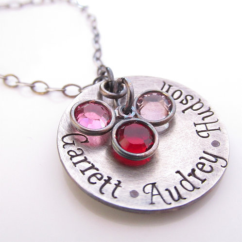 Personalized Necklace - Antiqued Loves