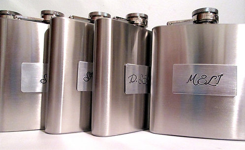 Hand Stamped Flask - set of 4