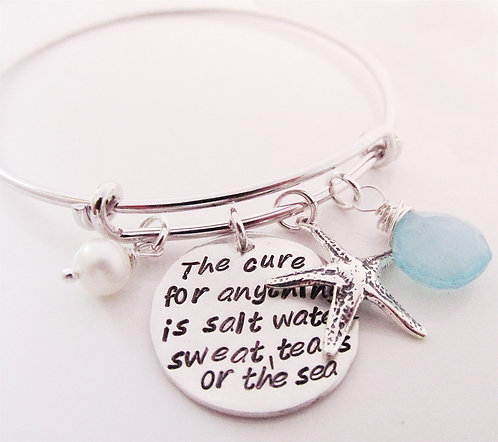 The Sea - hand stamped bracelet