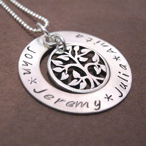 Family Tree hand stamped necklace - Washer Style
