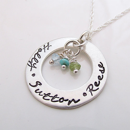Mother's Birthstone Necklace with Names