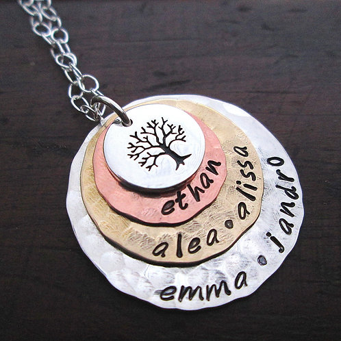 Stacked Family Tree - personalized necklace