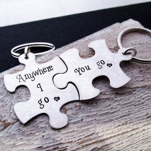 Puzzle Keychains - Anywhere I go - His and Hers