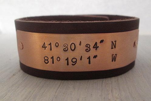 Leather Cuff Bracelet -  Coordinate Cuff Bracelet