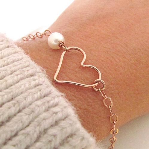 Rose Gold Bracelet - Heart Bracelet