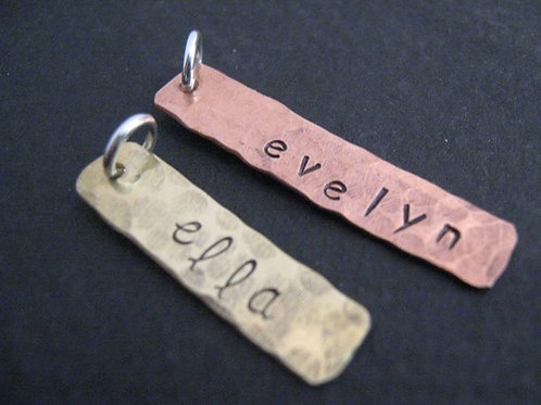 Hand Stamped copper or brass rectangle
