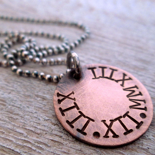 Roman Numerals Necklace - Gift for Him