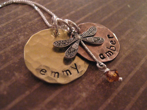 Earthy Baby hand stamped mother's necklace