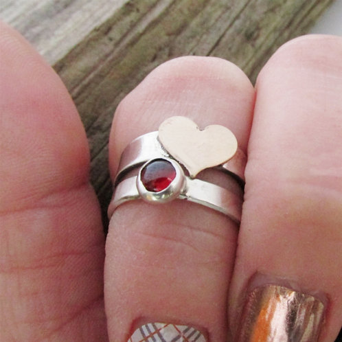 Gemstone and Heart Rings - Birthstone Rings