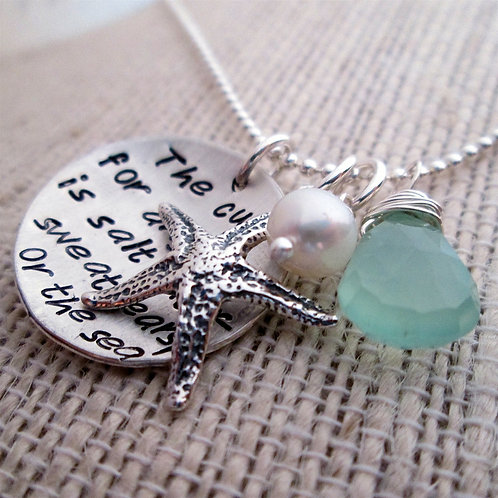 hand stamped necklace - Ocean Necklace