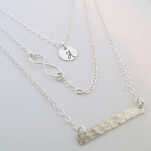 Infinity Layered Necklace Set - Set of 3 -