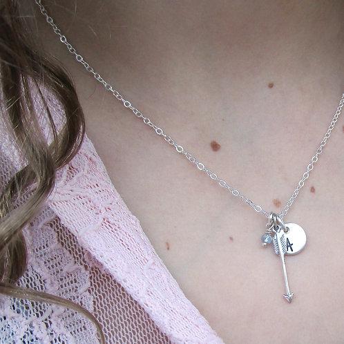 Initial Necklace - Birthstone Necklace - Dainty Ar