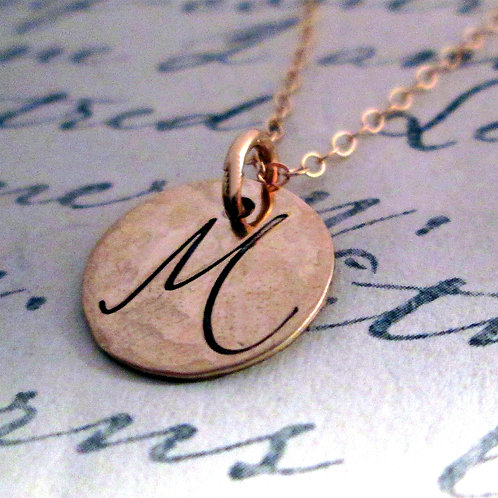 Initial Necklace - 14 kt Solid Gold Necklace