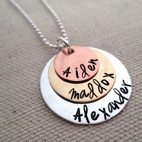 Personalized Jewelry - Mothers Necklace - hand sta